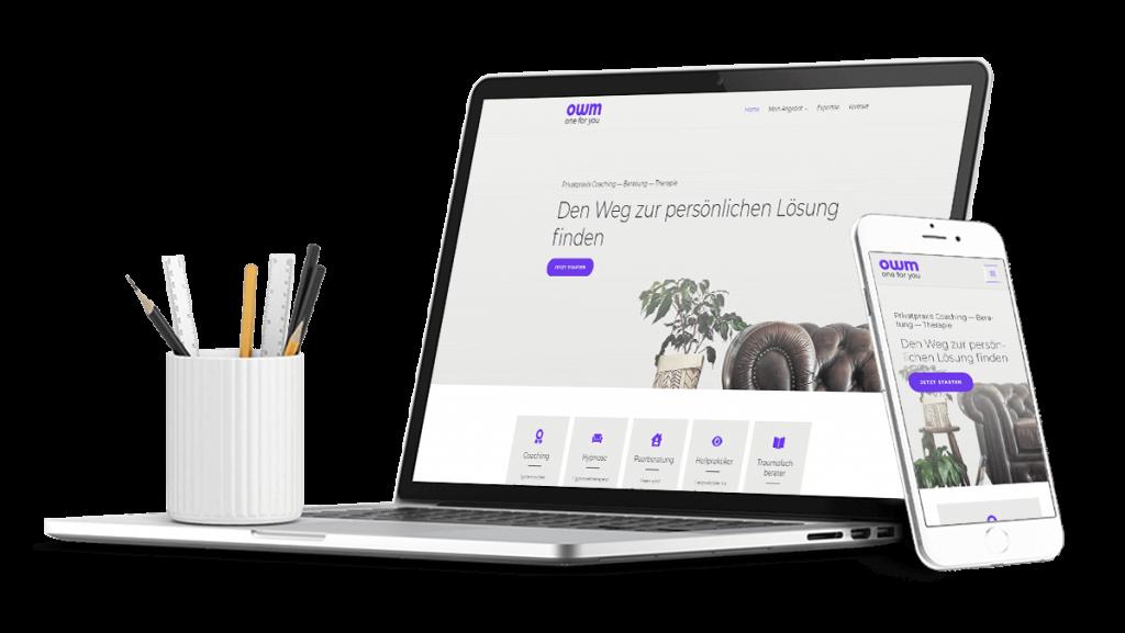 Laptop und Smartphone mit responsive Webdesign